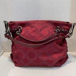 Coach 14147 Op Art Signature Jacquard Wine Red bag